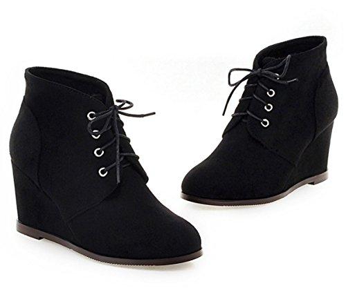 YE Damen High Heel Wildleder stiefeletten mit Keilabsatz Herbst Winter Schnürung Ankle Boots Schwarz
