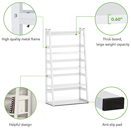 Tribesigns 5-Tier Bookshelf Modern Bookcase, Freestanding Leaning Ladder Shelf, Ample Storage Space for CD, Books, Home Decor (White) by Tribesigns (Image #4)