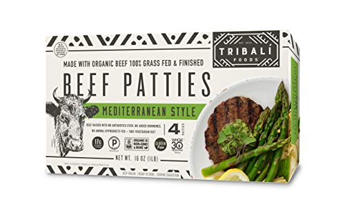 TRIBALÍ Foods - Organic Patties, 12 Boxes - Mediterranean Style Beef - 4 Patties per Box (48 Patties)