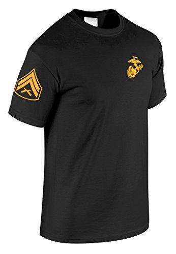 US Marine Corps Corporal T-Shirt w/ Chevron on Sleeve (X-Large, Black) ()
