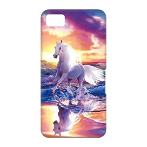 Black Berry Z10 3D Case,Running White Horse With Splashed Water Colorful Sunset High Definition Wonderful Design Cover With Hign Quality Hard Plastic Protection Case