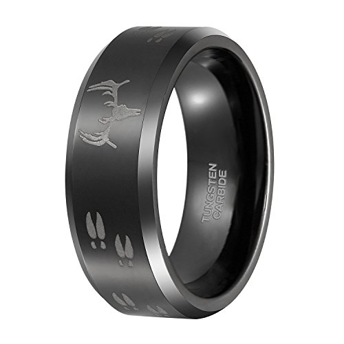 8mm Tungsten Carbide Wedding Engagement Band Black Polished Beveled Edge Etched Deer Head Men's Hunting Ring Size6-15 (15) (Polished Beveled Band)