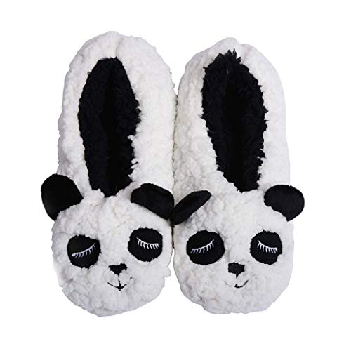 Panda Bros Womens Cozy&Warm Animal Slipper Socks with Grippers-House Socks(Panda,8-10)