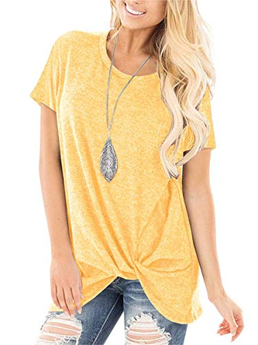 (SAMPEEL Womens Short Sleeve T Shirts Summer Loose Tunic Tops Twist Knot Yellow S)
