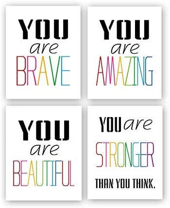 HPNIUB Typography Watercolor Words Inspirational Quote&Saying Modern Art Print Set of 4 (8\u201dX10\u201d Canvas Painting,Motivational Phrases Wall Art Poster for Nursery or Kids Room Home Decor,No Frame
