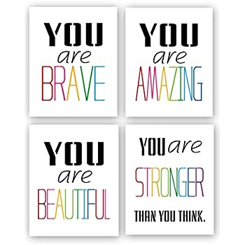 Typography Watercolor Words Inspirational Quote&Saying Modern Art Print Set of 4 (8