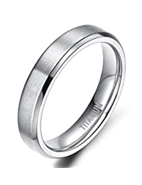 4MM Unisex Titanium Wedding Band Rings in Comfort Fit Matte Finish for Men Women