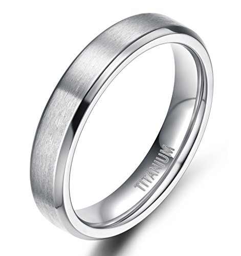 TIGRADE Unisex 4MM Titanium Brushed Finish Beveled Edge Classy Rings Wedding Band Size 4-15(9.5)
