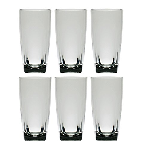 QG 6 pc Clear Smoke Light Grey Acrylic 26 oz Iced Tea Cup w/ Heavy Square Base Plastic Tumbler Set