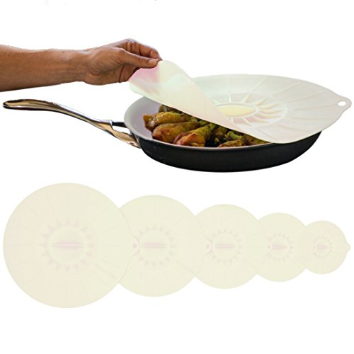 Bizanzzio Top On Flat Silicone Lids - Set of 5 (including an extra large approx 14 inch lid) - Reuseable Super Suction Food Covers (Frosty White)