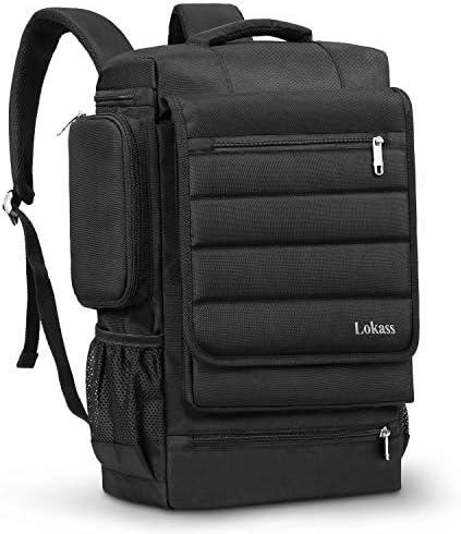 LOKASS 17.3 Inch Laptop Backpack for Men Women, Durable Travel Backpack Water Resistant Computer Bag Rucksack Hiking Knapsack College Bookbag Fits up to 17-17.3 Inches Laptop Notebooks, Black