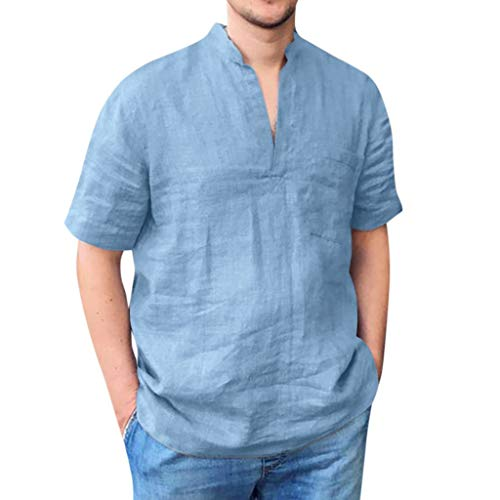 Men's Short Sleeve Henley Shirts Ultra Breathable Linen Front Pocket Relaxed Fit Casual Tops T-Shirt by URIBAKE Blue