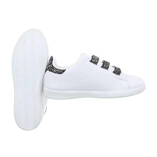 Ital-Design Sneakers Low Damenschuhe Schnalle Freizeitschuhe Weiß Schwarz L7281