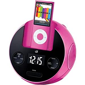 ilive ci109p am fm clock radio with dock for ipod pink electronics. Black Bedroom Furniture Sets. Home Design Ideas