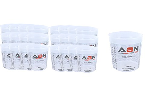 - ABN Clear Plastic Mixing Cup 25-Pack 16oz Ounce/473mL Milliliter Container with Ratios for Paint, Activators, Thinner