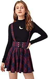 MakeMeChic Women's Plaid Print Lace Up Zip Back High Waist Overall S