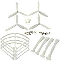 UUMART Syma X8C X8G X8W X8HC X8HW RC Quadcopter Spare Parts Upgraded Propeller+Protector+Landing Skid -White