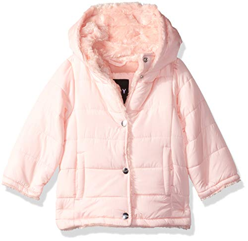 DKNY Baby Girls' Nylon Faux Fur Jacket, Blush, ()