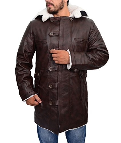 Abbraci Mens Brown Leather Trench Coat Jacket Shearling Winter Swedish Fur Leather Jacket (XLarge, Brown) ()