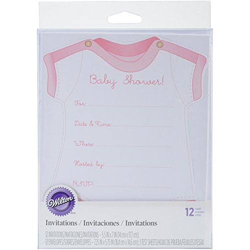 Wilton Pink Girl Onesie Fill-In Baby Shower Invitations, 12pc