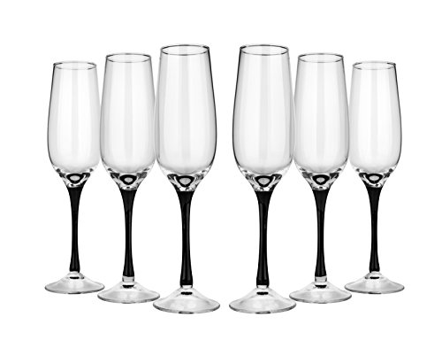 Flutes Stem Black (Neman NGB6403BK-X, 6 Oz Hand-Made Crystal Champagne Flutes, Crystal Champagne Sparkling Wine Glasses on Black Stem, Wedding Gift Drinkware, Set of 6)