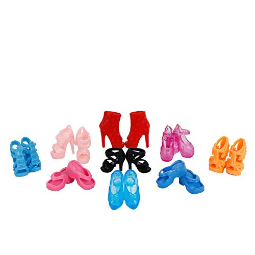 ZHONGLI Random 10 Pairs Barbie Doll Shoes Assorted Fashion Colorful Mixed Style Sandals High Heels Platforms for Girls Barbie Doll Accessories