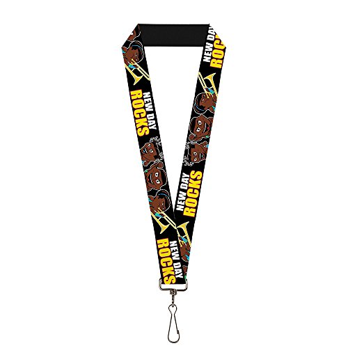 Wrestling Lanyard (Buckle-Down Buckle-Down Lanyard - WWE The New Day Accessory, -The New Day Group Pose/NEW DAY ROCKS Black/White/Red/Yellow, Standard)
