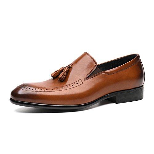 HWF Scarpe Uomo in Pelle Primavera scarpe da uomo in pelle per il tempo libero Business formale usura scarpe da sposa stile nappa a punta britannica stile marea (Colore : Nero, dimensioni : EU43/UK8) Yellow-brown