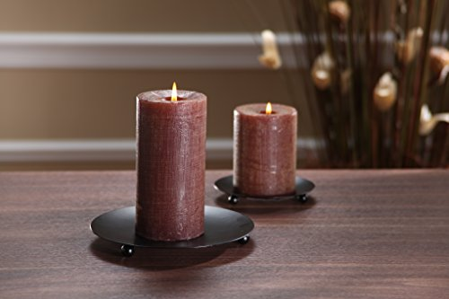 Hosley Set of 6 Black Iron Pillar Candle Holders - 4.75'' Diameter. Ideal for LED Candle Gardens, Spa, and Aromatherapy, Incense Cones, Wedding, Party, Spa, as Pedestal O3 by Hosley (Image #1)