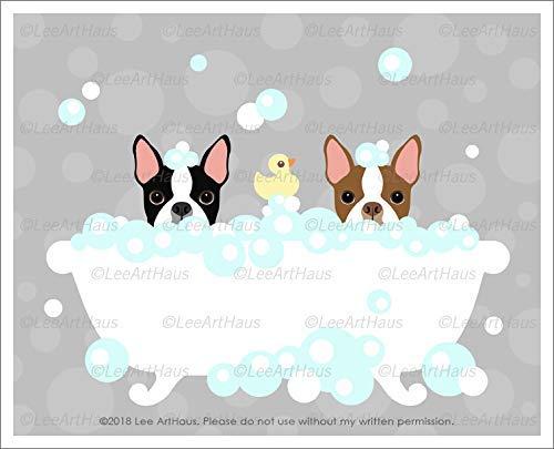 563D - Two Boston Terrier Dogs Peeking in Bubble Bath Bathtub UNFRAMED Wall Art Print by Lee ArtHaus