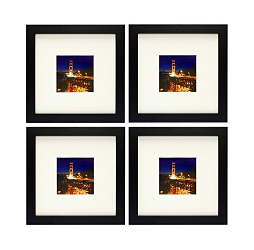 Frametory, Set of 4, 8x8 Black Picture Frame with Ivory Color Mat for 4x4 Photo - Wide Molding - Sawtooth Hangers - Square Shape - Glass Front (Black)
