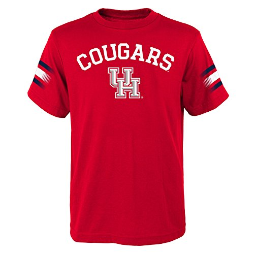 """NCAA by Outerstuff NCAA Houston Cougars Youth Boys """"First Line"""" Dri-Tek Short Sleeve Tee, Red, Youth Medium(10-12)"""