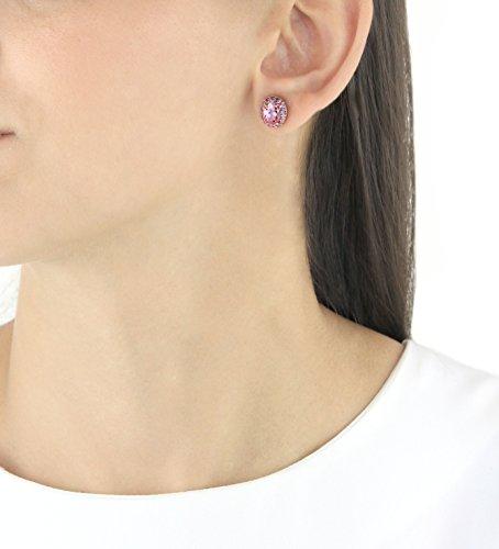 Myia Passiello Boucles d'Oreilles Plaqué Or Ovale Zircon cubique Rose Femme