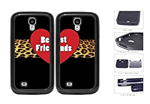 Red Heart Leopard Stripe Best Friends Set 2-Piece Dual Layer High Impact Rubber Silicone Cell Phone Case Samsung Galaxy S4 SIV I9500