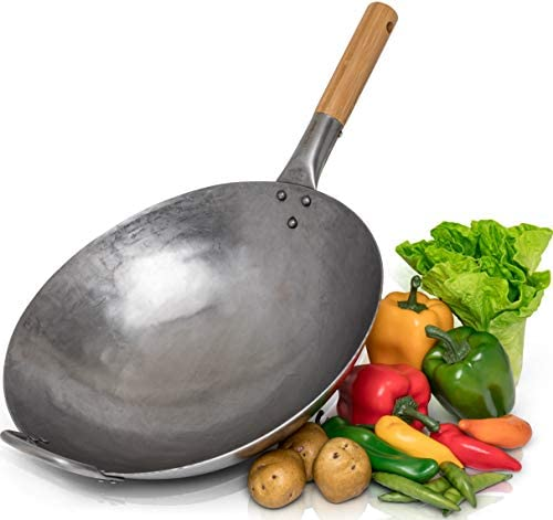 Traditional Hand Hammered Carbon Steel Pow Wok with Bamboo and Steel Helper Handle – 14 Inch, Round Bottom by Chef s Medal