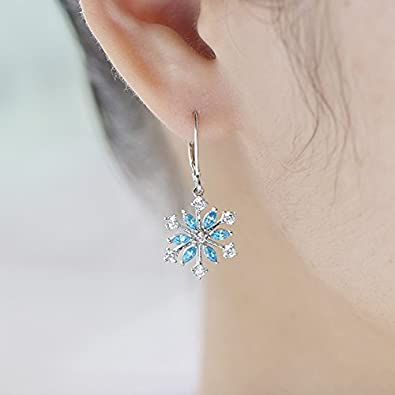 JO WISDOM 925 Sterling Silver Cubic Zirconia Snowflake Leverback Earrings Drop Dangle Earrings