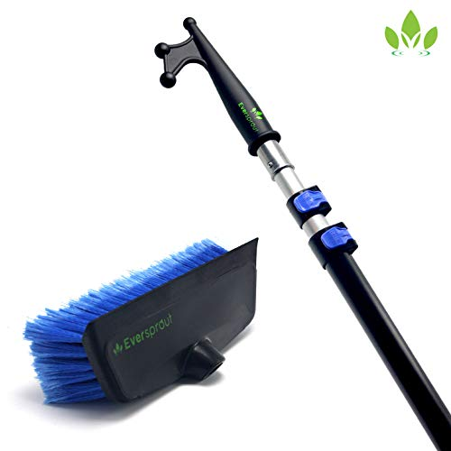 EVERSPROUT 7-to-19 Foot Boat Hook & Scrub Brush Kit (25 Ft Reach) | Soft-Bristle Deck Brush with Built-in Bumper Prevents Scratching | Durable, Lightweight 3-Stage Extension Pole | Floating Design