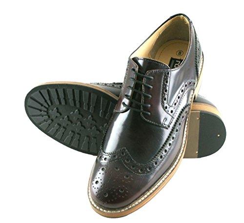 Roamers Hi Shine Oxblood Echt Leder mit 5Ösen Flügel Kappe Gibson Brogue Herren Schuhe Oxblood