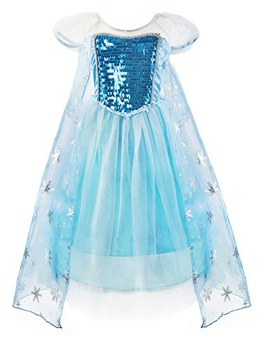 Padete Little Girls Anna Princess Dress Elsa Snow Party Queen Halloween Costume (7 Years, Blue Short Sleeve)