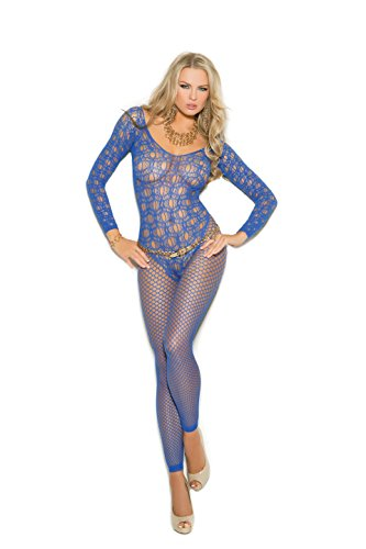 Bodystocking Romantic Lace (Zabeanco Sexy Long Sleeve Crochet Bodystocking With Open Crotch (One Size, Royal))