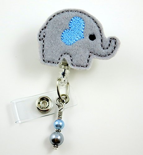 Elephant with Blue Heart- Nurse Badge Reel - Retractable ID Badge Holder - Nurse Badge - Badge Clip - Badge Reels - Pediatric - RN - Name Badge Holder