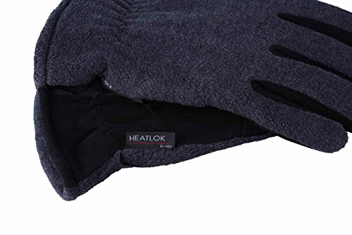 OZERO Deerskin Suede Leather Palm and Polar Fleece Back with Heatlok Insulated Cotton Layer Thermal Gloves, Large - Grey-Black by OZERO (Image #5)