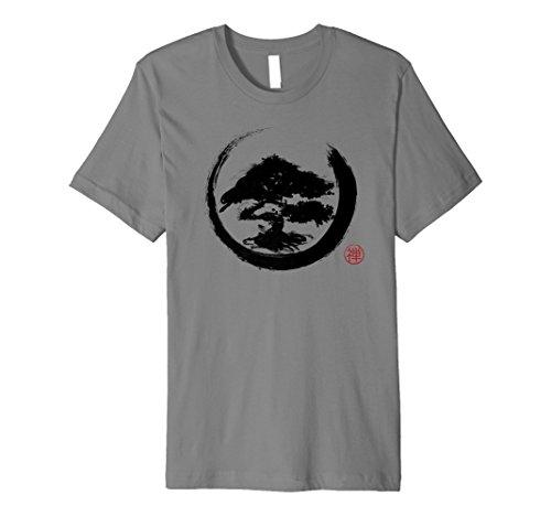 (Mens Premium Bonsai Tree T Shirt Zen Buddhism Enso Circle Tees 3XL Slate)