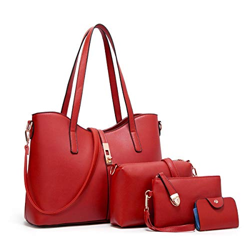 (YTL Women Fashion Synthetic Leather Handbags+Shoulder Bag+Purse+Card Holder 4pcs Set Tote)