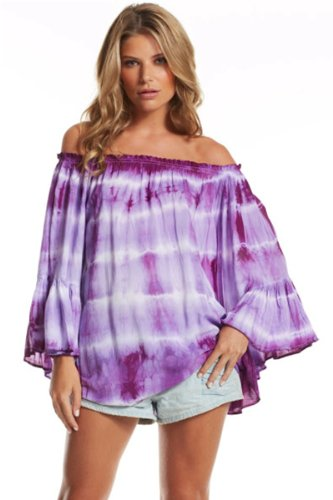 ab72ccc6bae92 Sexy Off Shoulder Shirt Dress  Rippled Purple Ombre. by blue sky swimwear