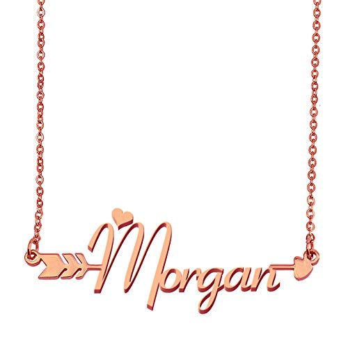 Morgan Rose Pearl (Aoloshow Customized Custom Name Necklace Personalized - Custom Morgan Initial Plated Handwriting Nameplate Necklace Gift for Womens Girls)