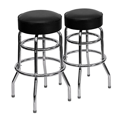Flash Furniture 2 Pk. Double Ring Chrome Barstool with Black Seat