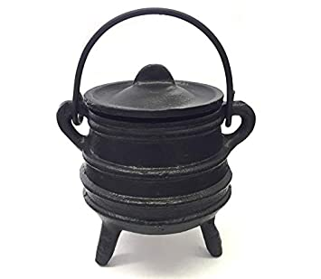 Cast Iron Cauldron w/Handle, Ideal for smudging, Incense Burning, Ritual Purpose, Decoration, Candle Holder, etc. (4 Diameter Handle to Handle, 2.5 Inside Diameter) 2.5 Inside Diameter) New Age Imports Inc. F114-BR74