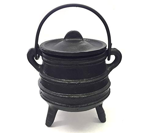 "New Age Imports, Inc. Cast Iron Cauldron w/handle & lid, ideal for smudging, incense burning, ritual purpose, decoration, halloween decoration, candle holder, etc. (Ribbed Style 4"" High, 2.25"" Dia)"