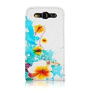 Crisantemo y flujo de la PU del patr¨®n de cuero del caso de cuerpo completo para Samsung Galaxy S3 I9300